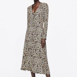 Fabulous ZARA Leopard Print Midi Dress